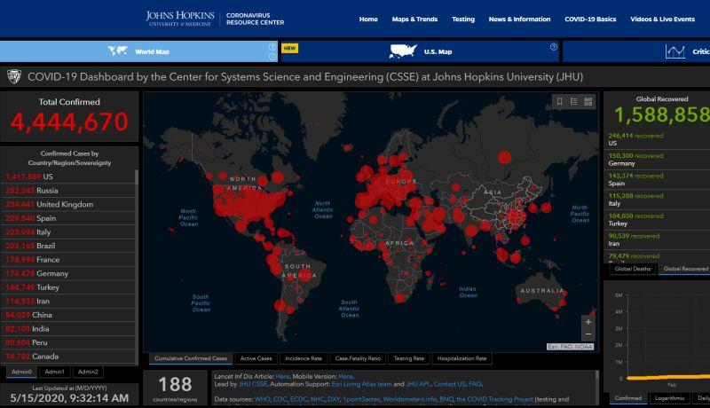 Johns Hopkins: Áthelyeződtek a gócpontok a világban, csökkent a fertőzés terjedésének üteme